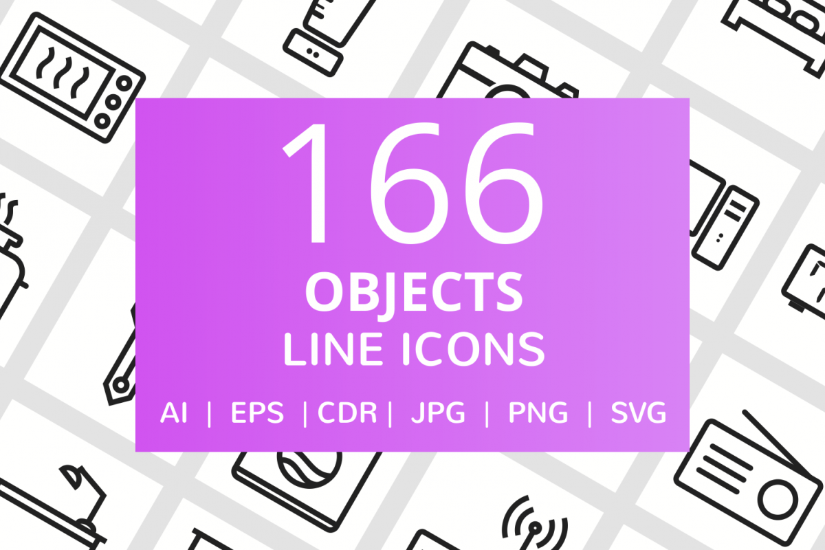 166 Objects Line Icons example image 1