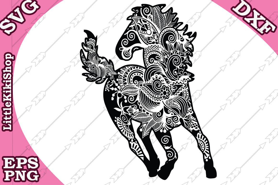 Zentangle Horse Svg,Mandala Horse Svg, Zentangle animal Svg example image 1