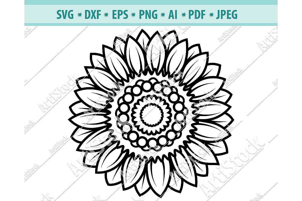 Sunflower svg, Sunflower clipart, Sun frame Dxf, Png, Eps example image 1