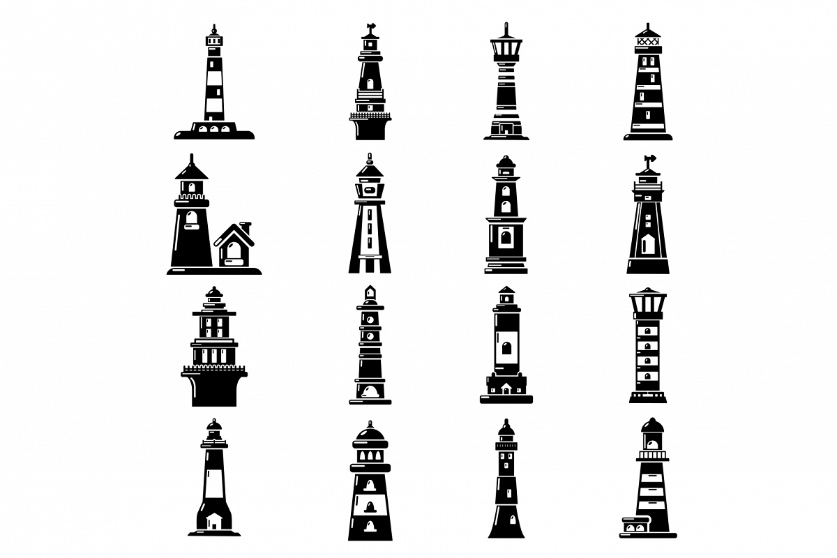 Lighthouse icons set, simple style example image 1