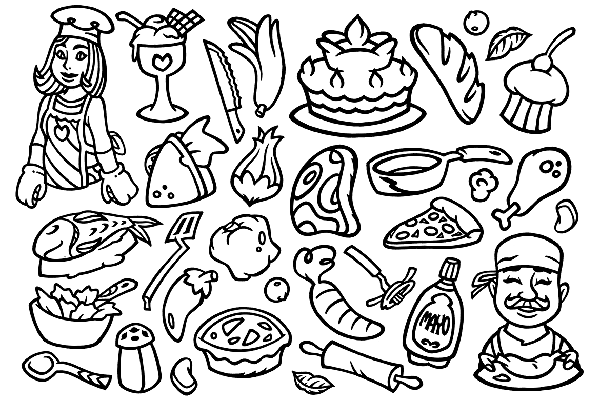 30 Cooking Doodles Clipart example image 1