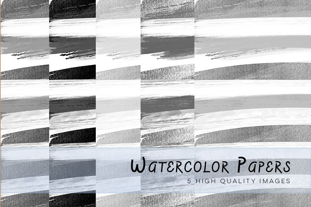 Black and White Watercolour Stripes Digital Papers, Black and White Digital Papers, Black and White Stripes, Stripes paper for invitations example image 1