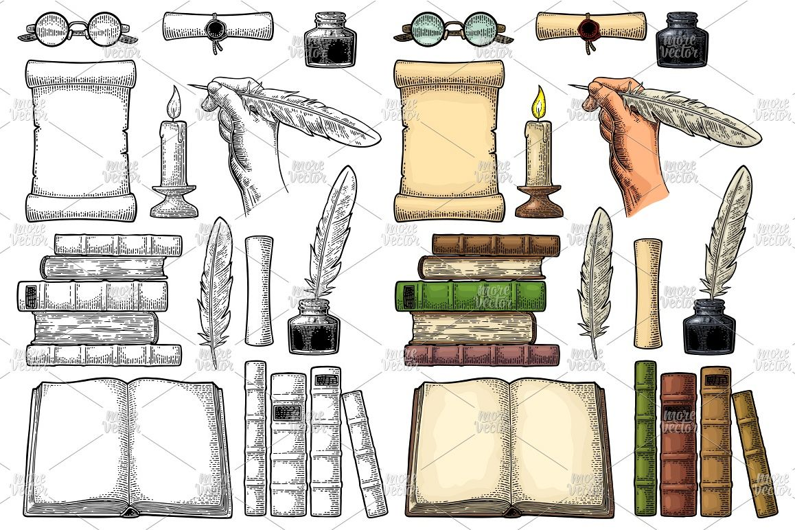 Set education. Vector color and black vintage engraving example image 1