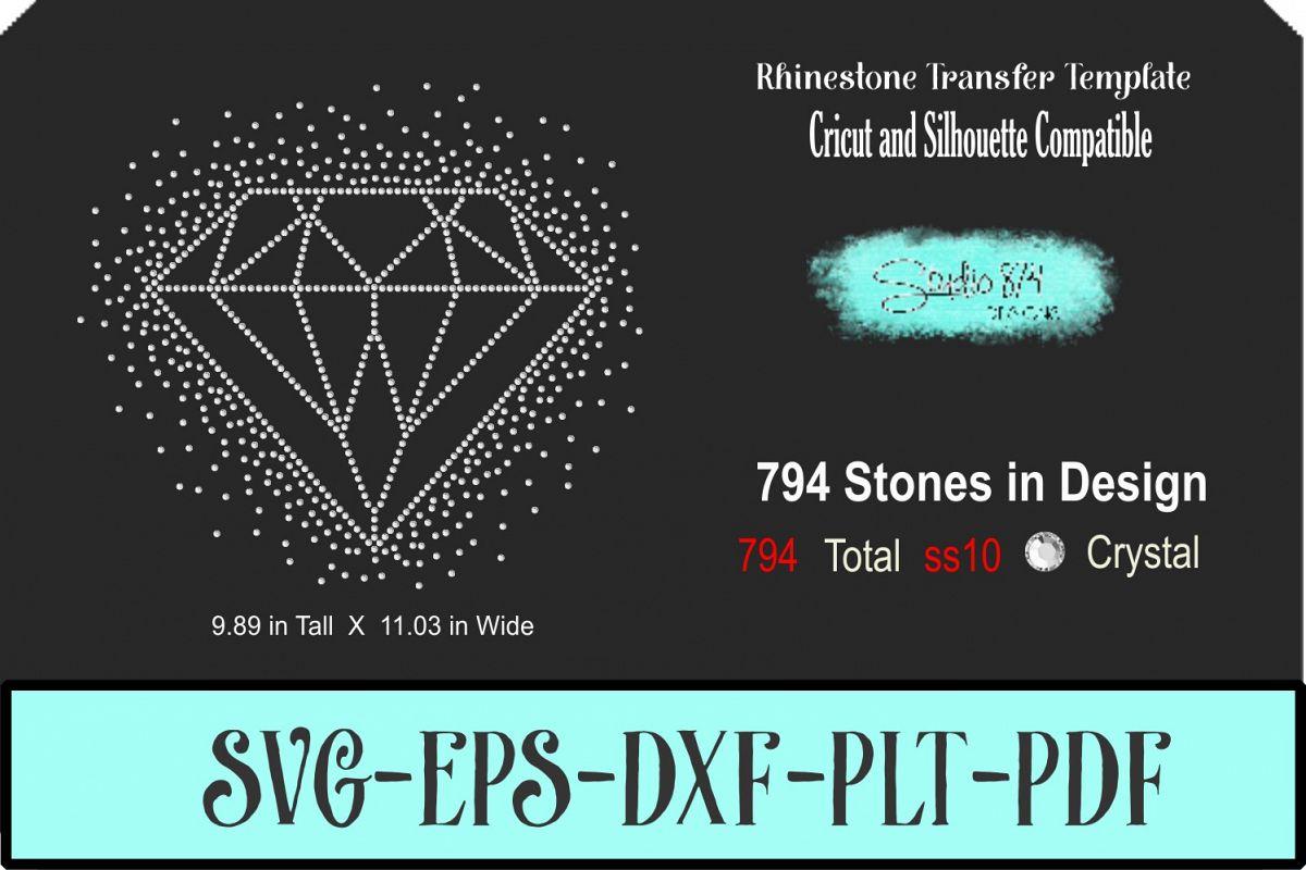 Diamond Rhinestone SVG Template - 9 Inch R3 example image 1