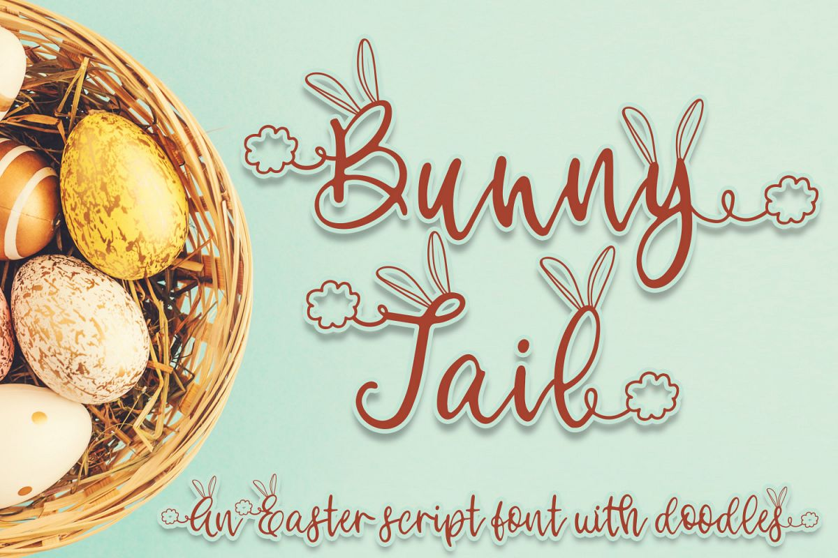 Bunny Tail - An Easter script font with doodles example image 1