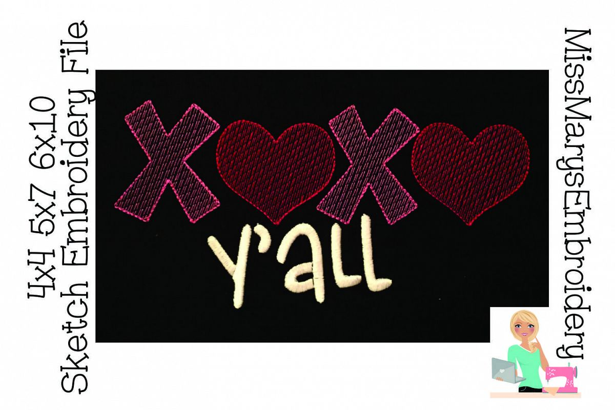XOXO Ya'll Sketch Embroidery File example image 1