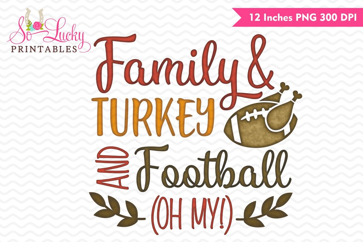 Family Turkey and Football watercolor printable sublimati example image 1