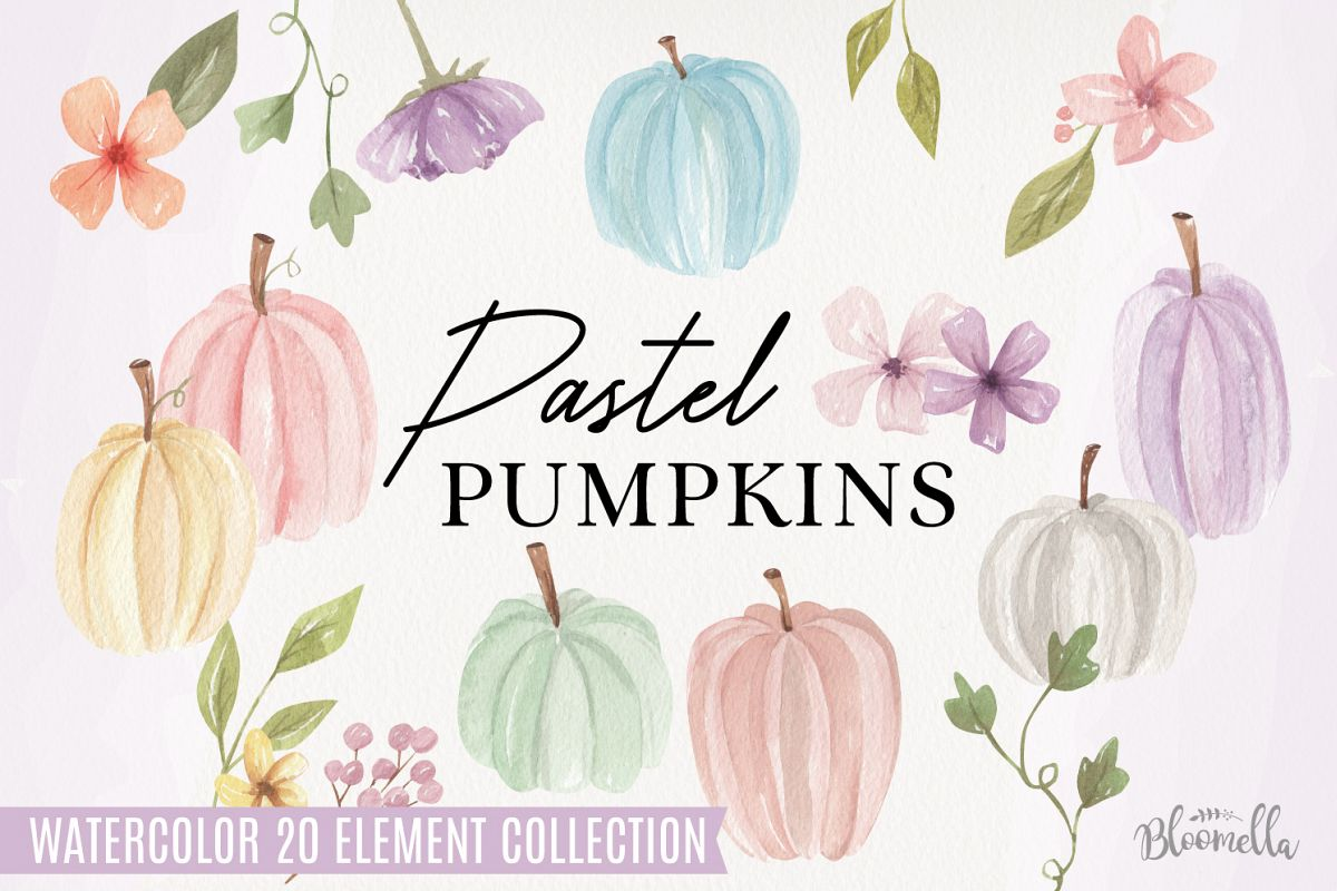 Pastel Pumpkins Hand Painted Watercolor 20 Fall Elements example image 1
