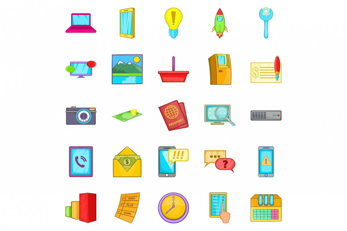 Operator icons set, cartoon style example image 1