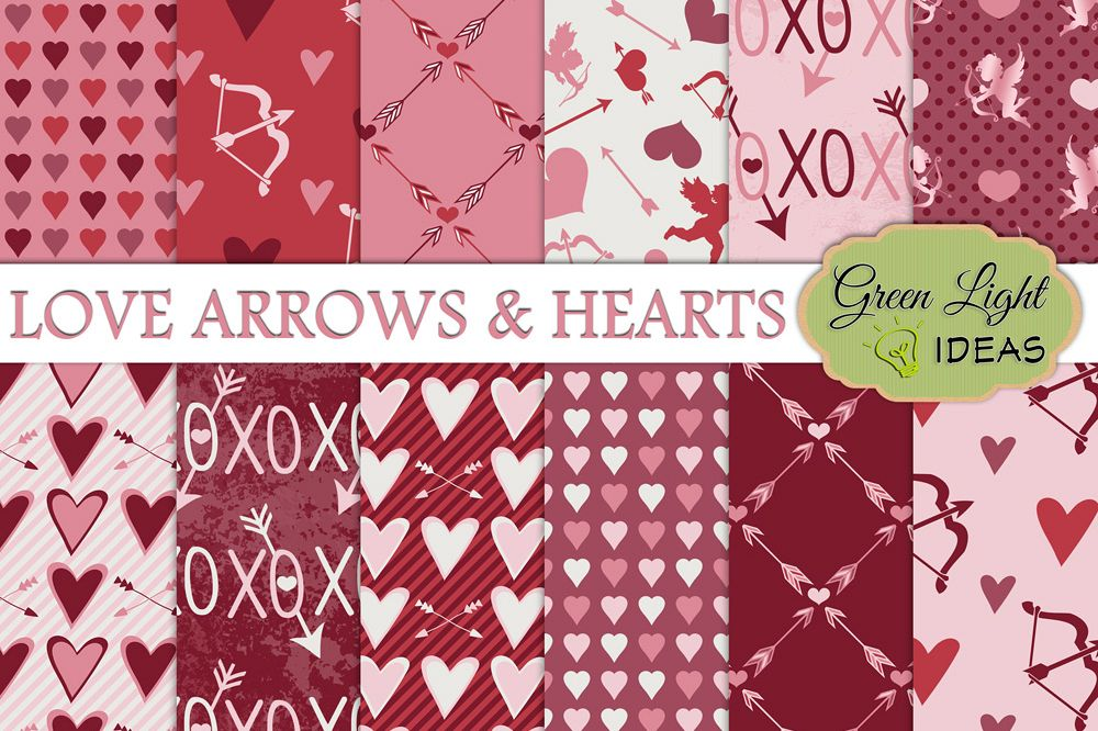 Valentines Digital Papers, Valentine's Day Backgrounds, Arrows and Hearts Papers example image 1