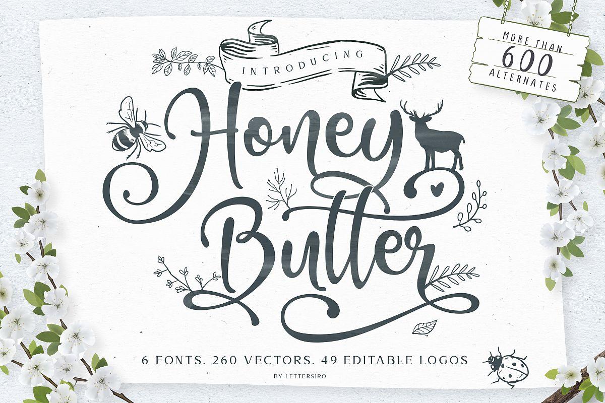 Honey Butter Font Trio & 260 Vectors example image 1