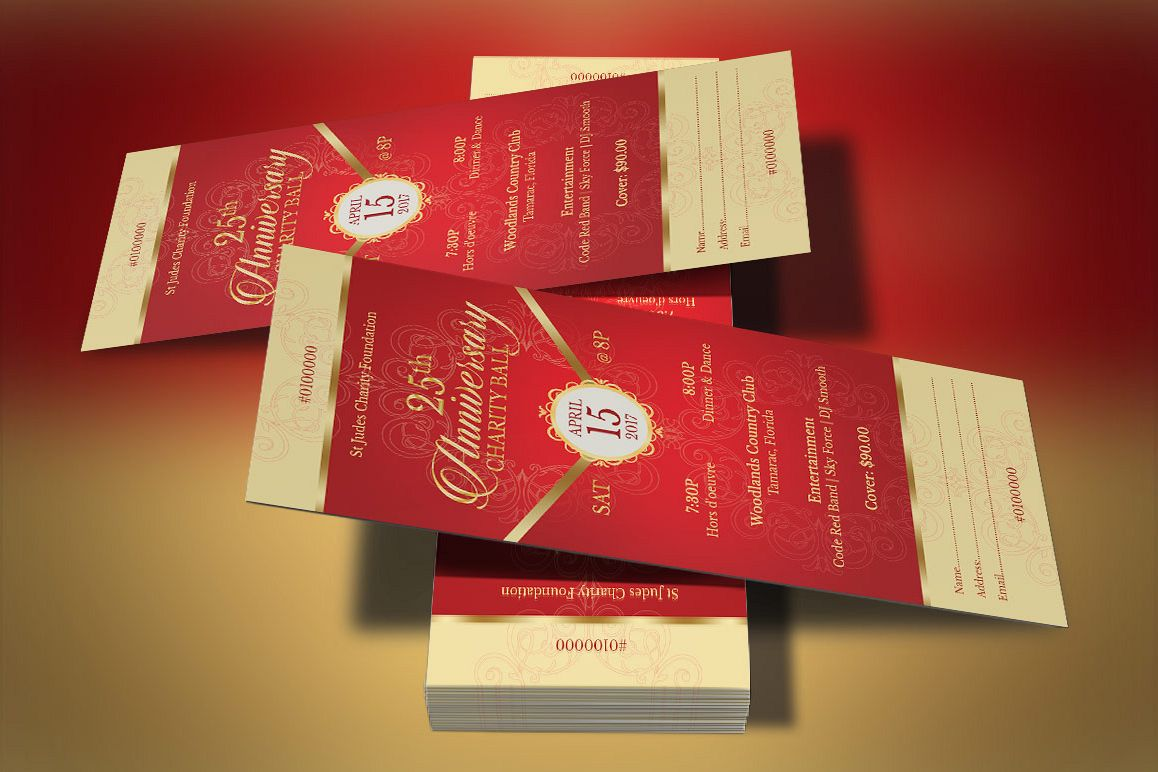 Red Gold Anniversary Gala Ticket Template Example Image 1