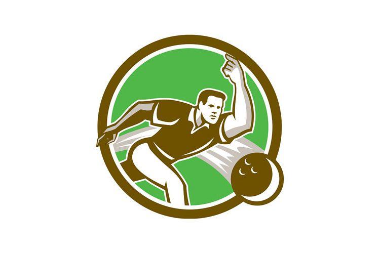 Bowler Throwing Bowling Ball Circle Retro example image 1