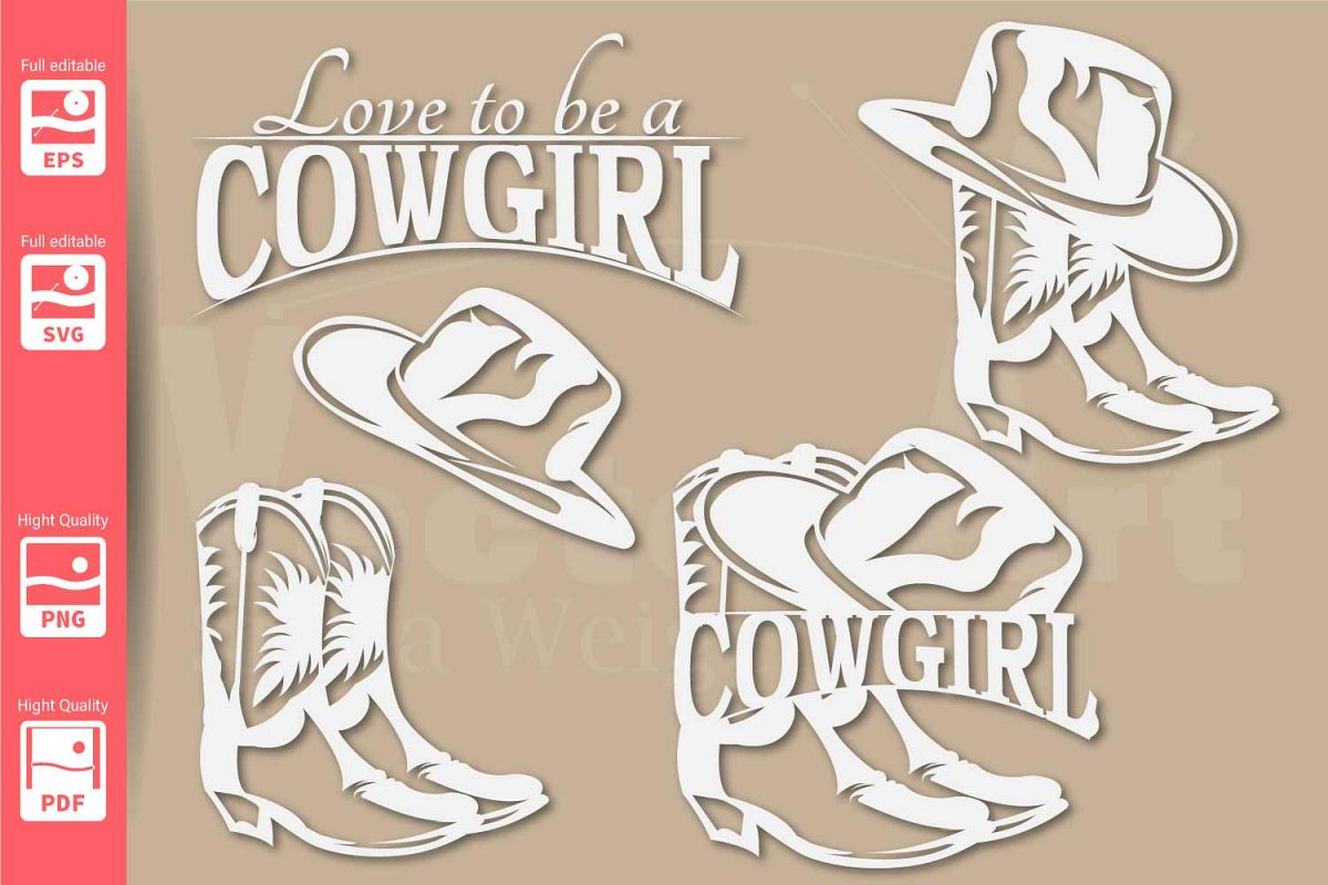 Cowgirl Logo with Hat and Boots - SVG - Set example image 1