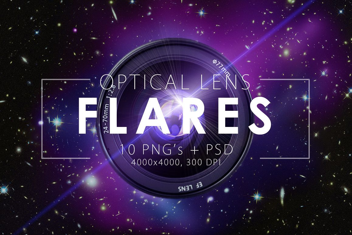 10 Optical Lens Flares Pack 1 example image 1