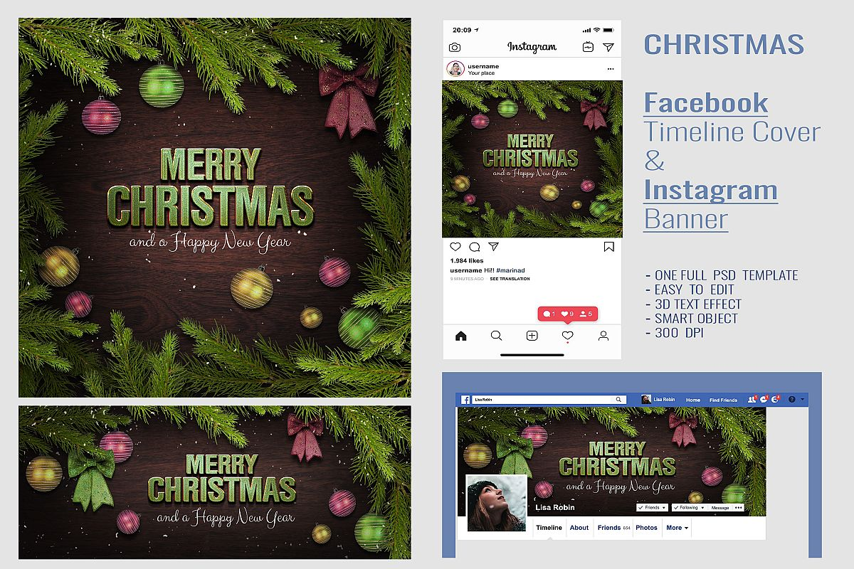 Christmas Facebook Timeline Cover & Instagram Banner PSD example image 1