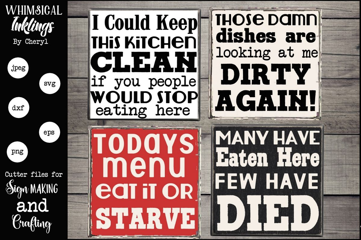 Kitchen Humor Magnet-Sign SVG Set example image 1