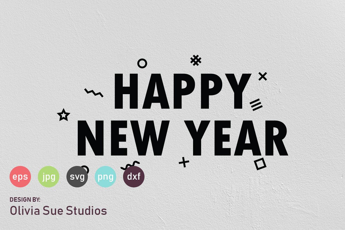 Happy New Year Confetti SVG Cut File example image 1