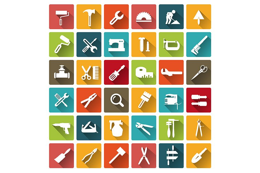 Tools flat icons example image 1