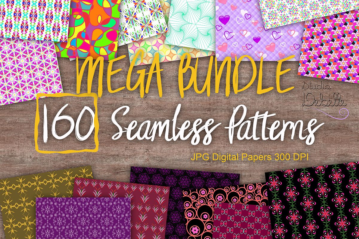 MEGA BUNDLE 160 Seamless Patterns Digital Paper example image 1