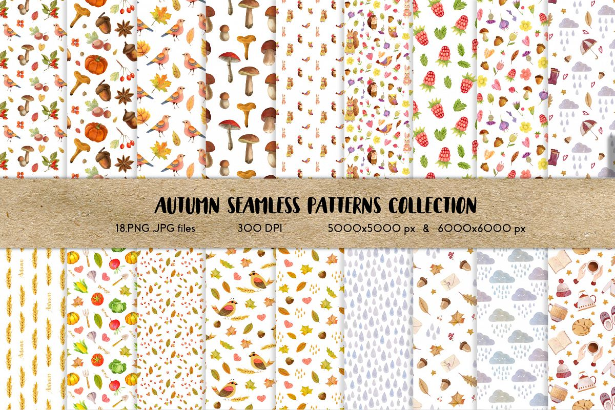 Watercolor Autumn Seamless Patterns Collection example image 1