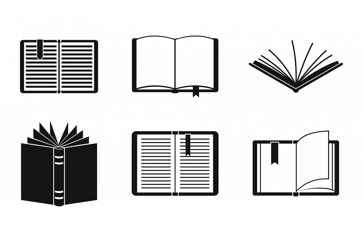 Open book icon set, simple style example image 1
