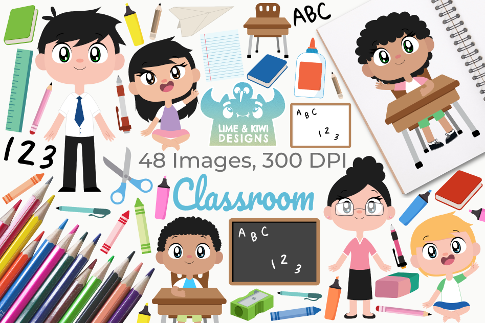 Classroom Clipart, Instant Download Vector Art example image 1