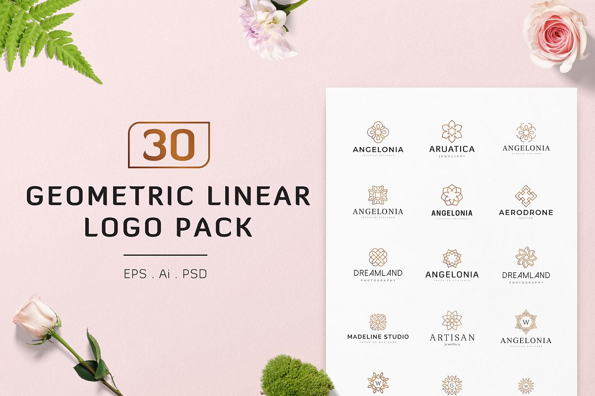 30 Geometric Linear Logo Pack example image 1