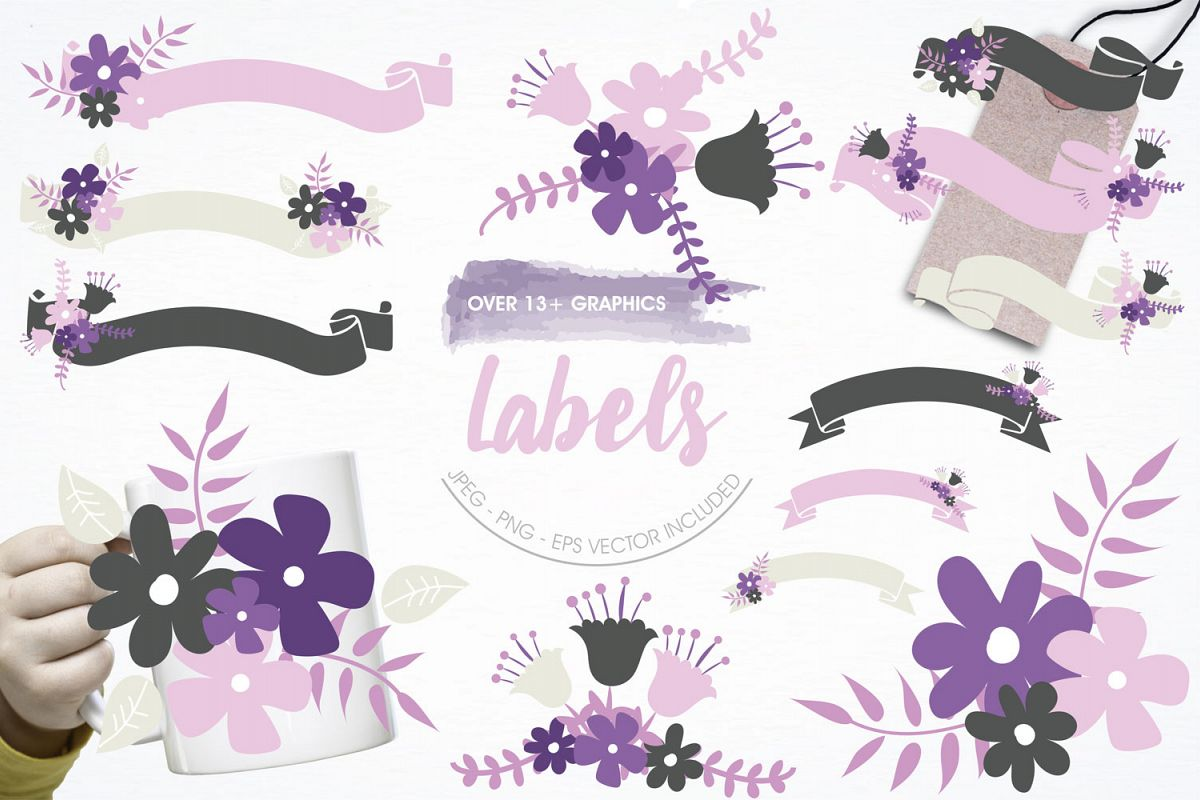 Floral Labels Cute Graphics example image 1
