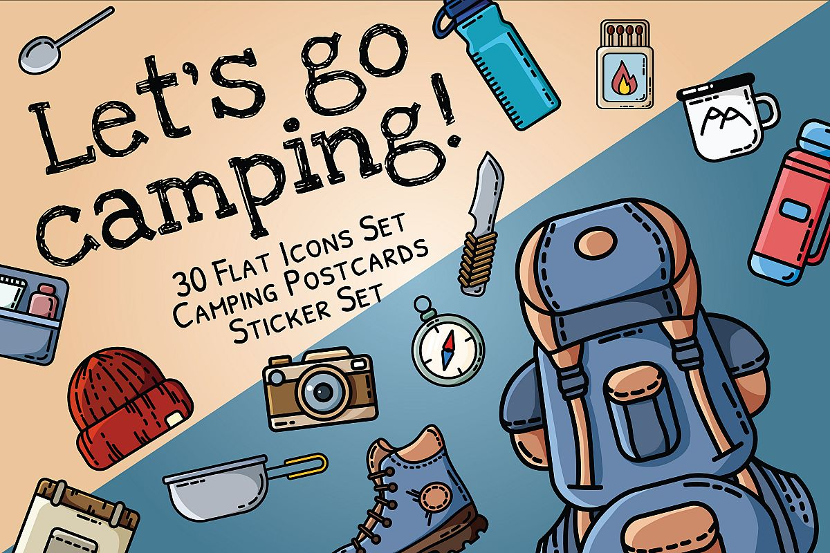 Let's Go Camping Icons Set example image 1