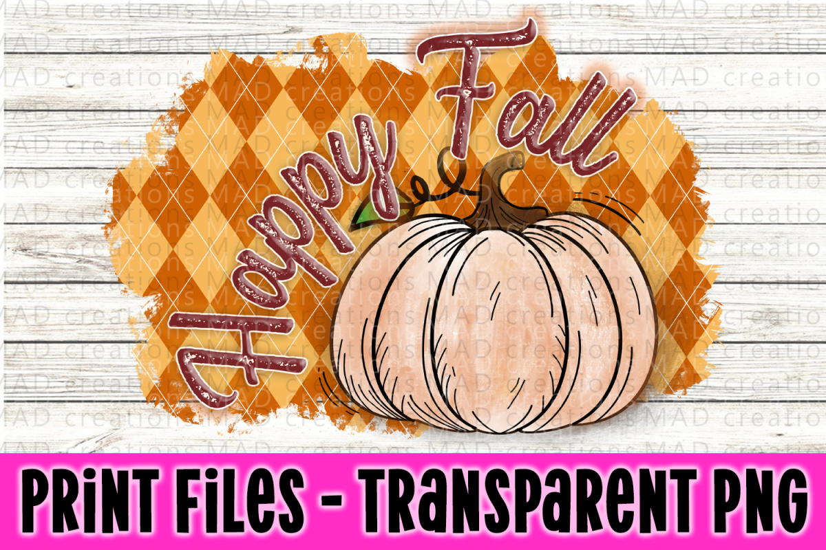Happy Fall - Orange Argyl- Pumpkin - Print File example image 1