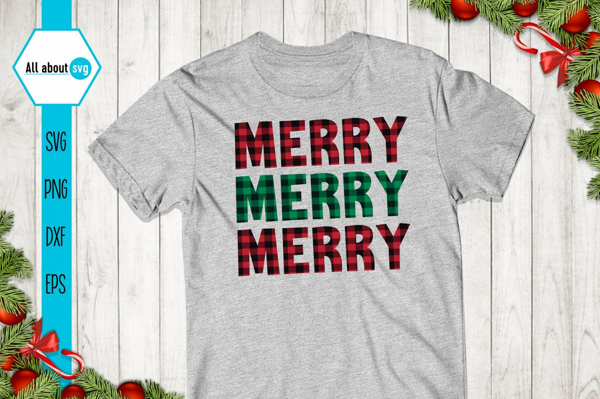 Merry Merry Merry Christmas Plaid Svg example image 1
