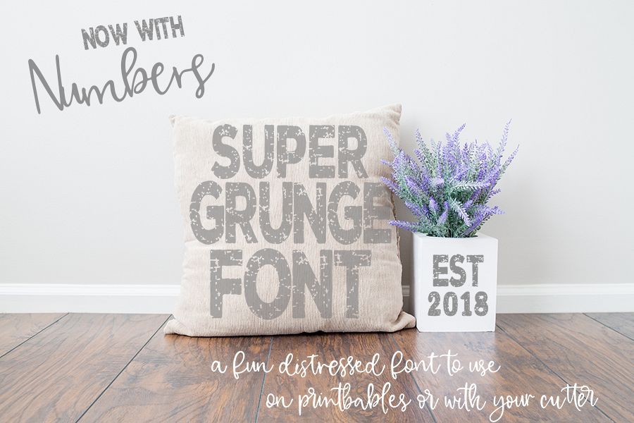 Super Grunge Font now with NUMBERS example image 1