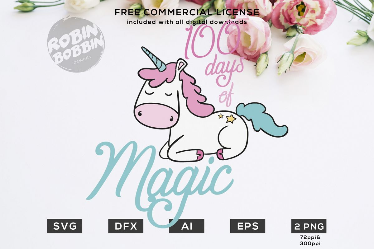 100 Days of Magic Design for T-Shirt, Hoodies, Mugs and more example image 1