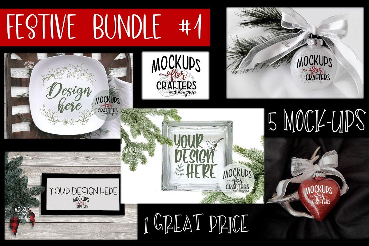 Christmas, FESTIVE Bundle #1 - FIVE MOCK-UPS example image 1