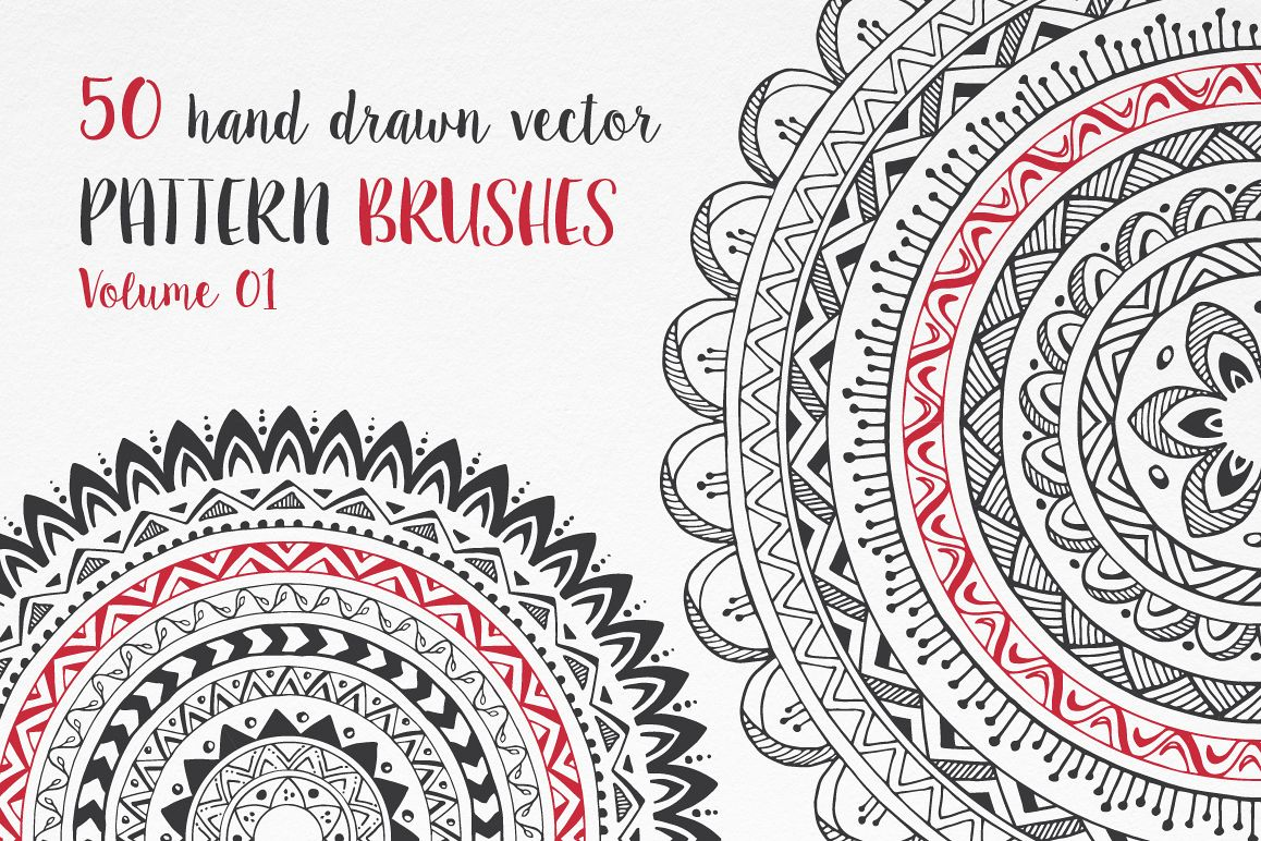 Hand Drawn Pattern Brushes Vol. 01 example image 1
