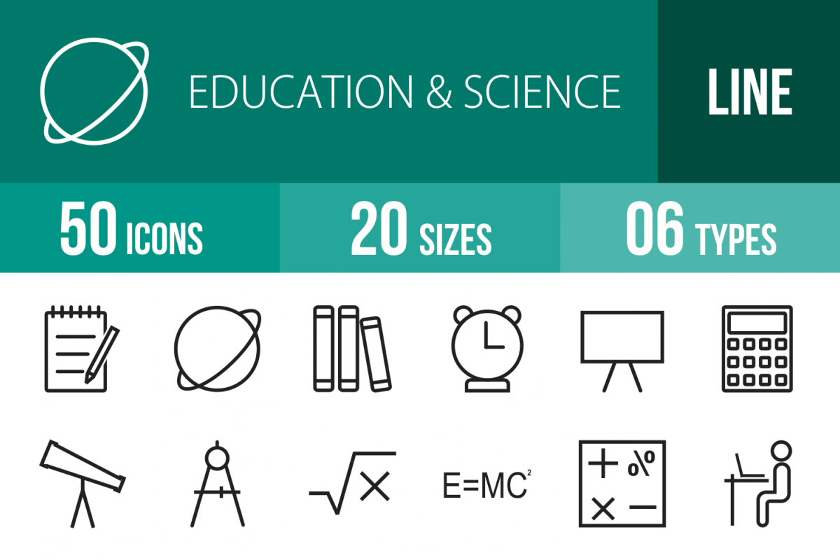 50 Education & Science Line Icons example image 1