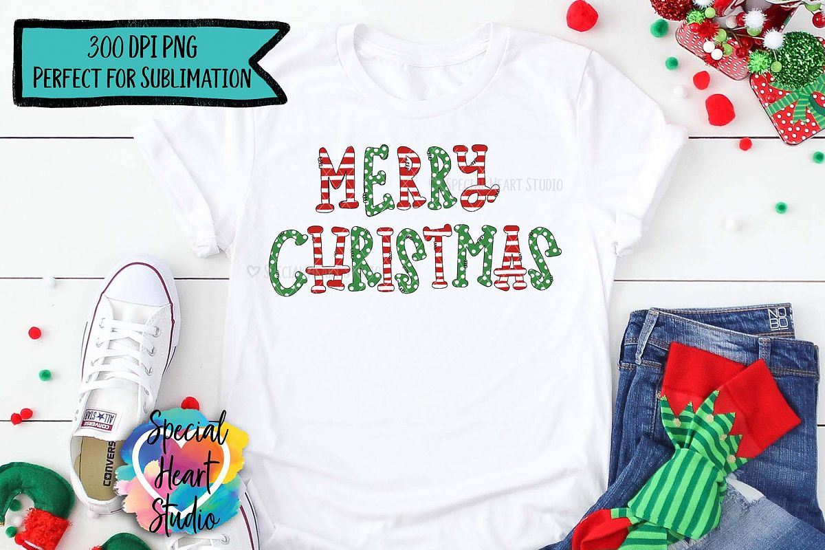 Merry Christmas - Sublimation - Hand Lettered Christmas PNG example image 1