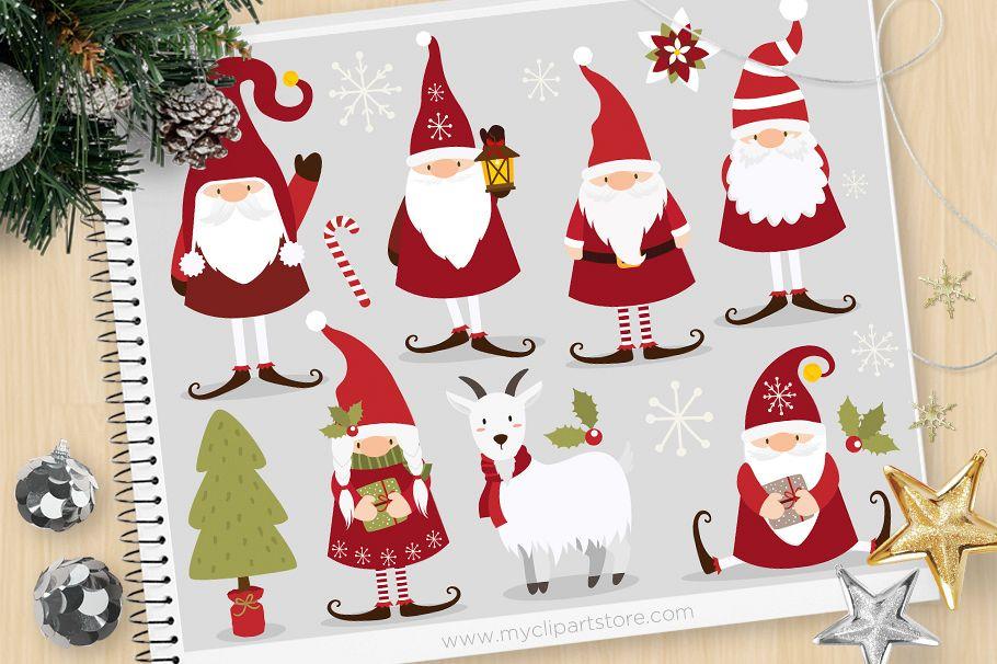 Gnome Clip Art: Scandinavian Christmas Gnome Clipart