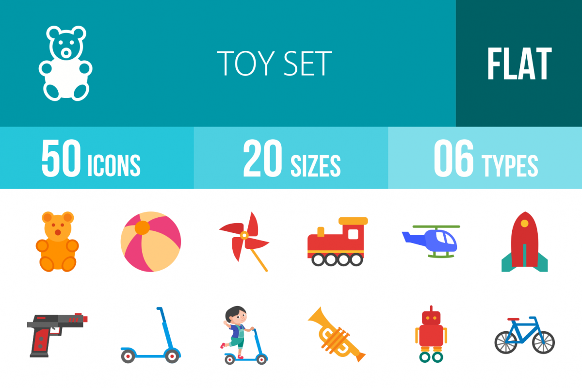 50 Toy Set Flat Multicolor Icons example image 1