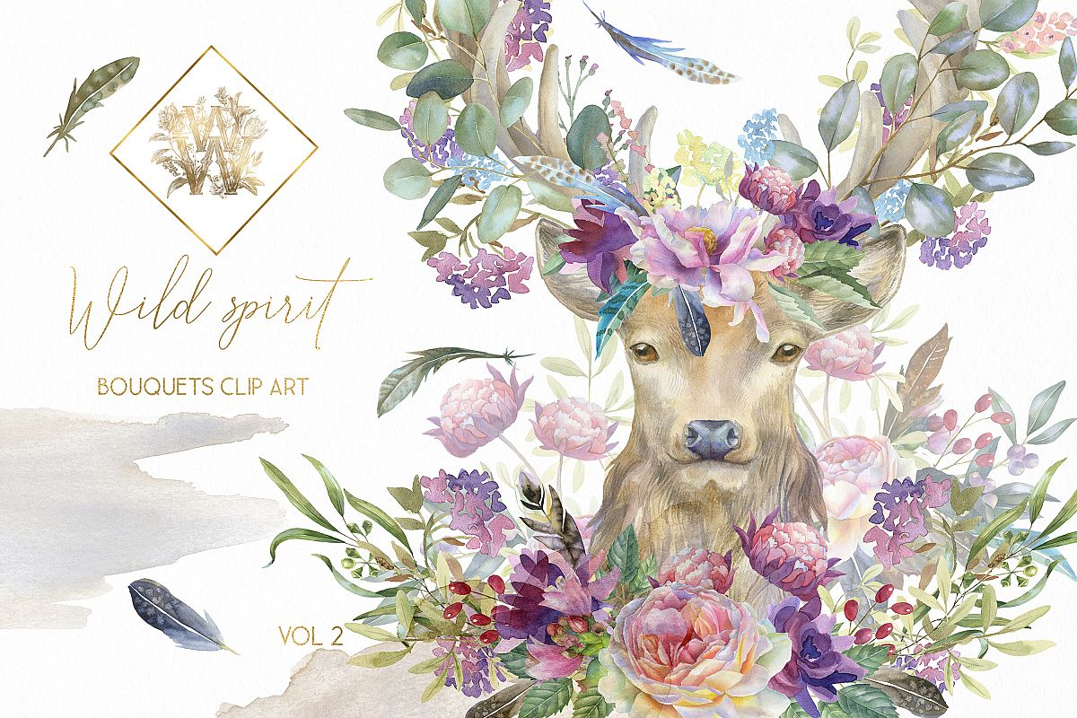 Watercolor Boho Bouquet Clipart Floral Deer Wedding Png