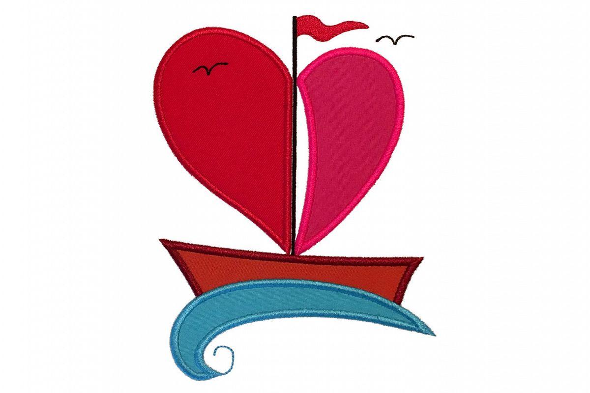 Heart boat machine embroidery applique design