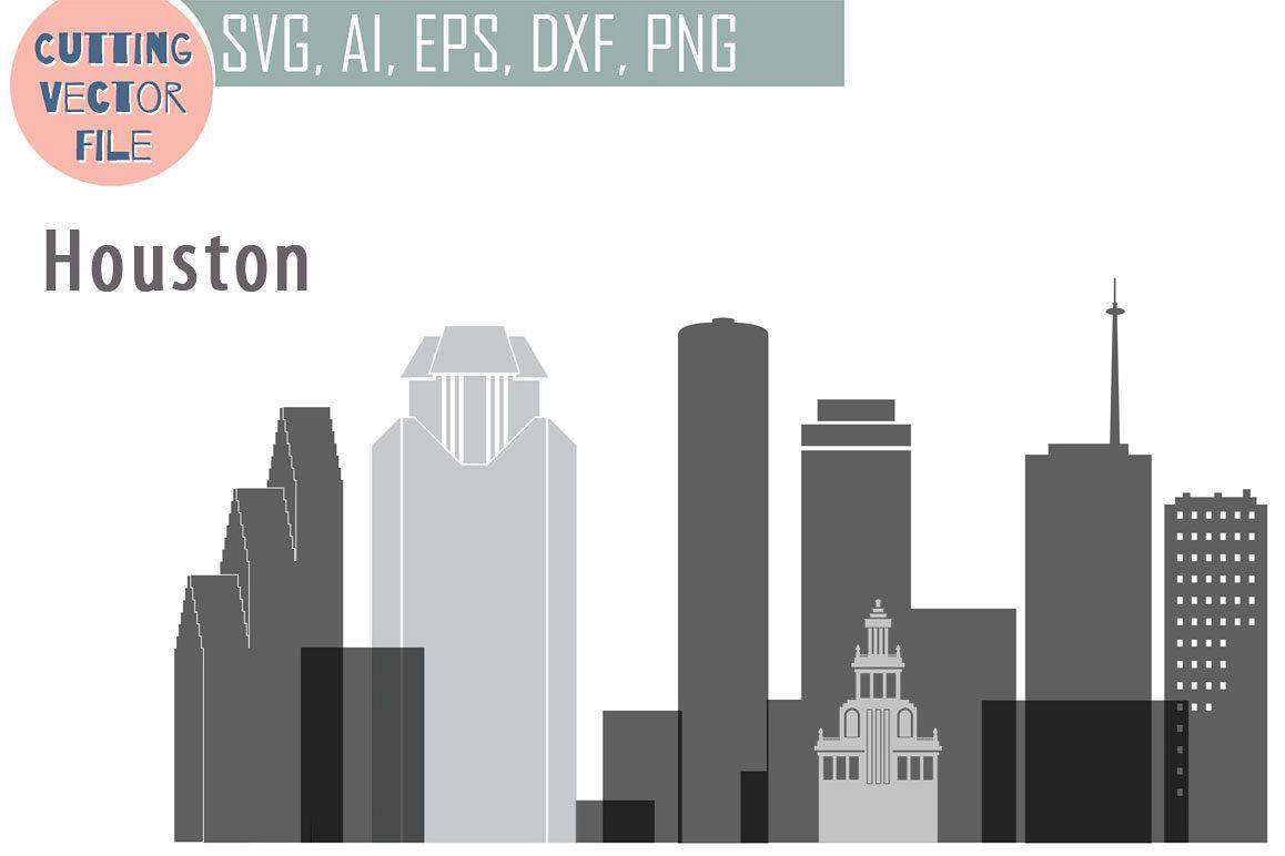 Houston Vector, Texas Skyline USA city, SVG, JPG, PNG, DWG, CDR, EPS, AI example image 1