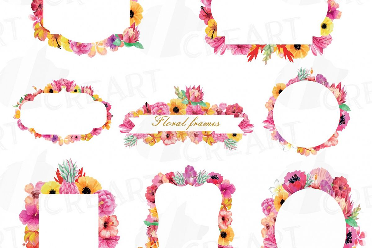 Floral Frames Watercolor Clip Art Collection Borders Sweet Digital