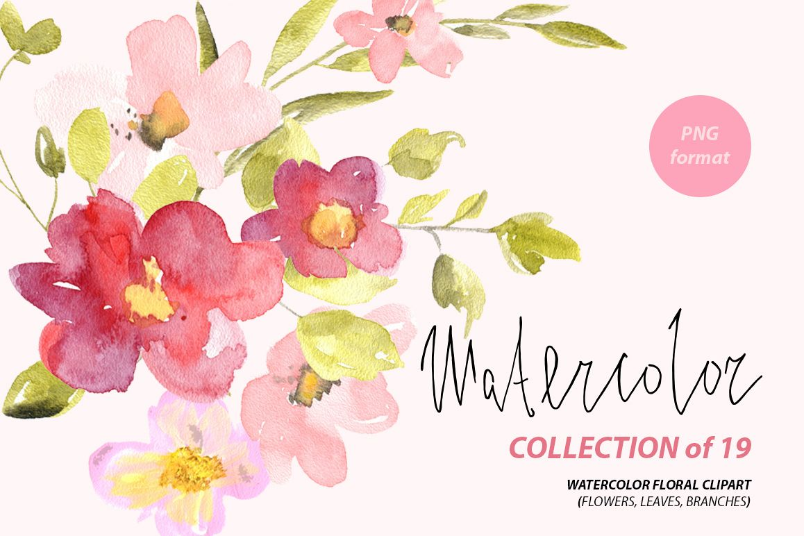 Watercolor red & pink flowers png example image 1