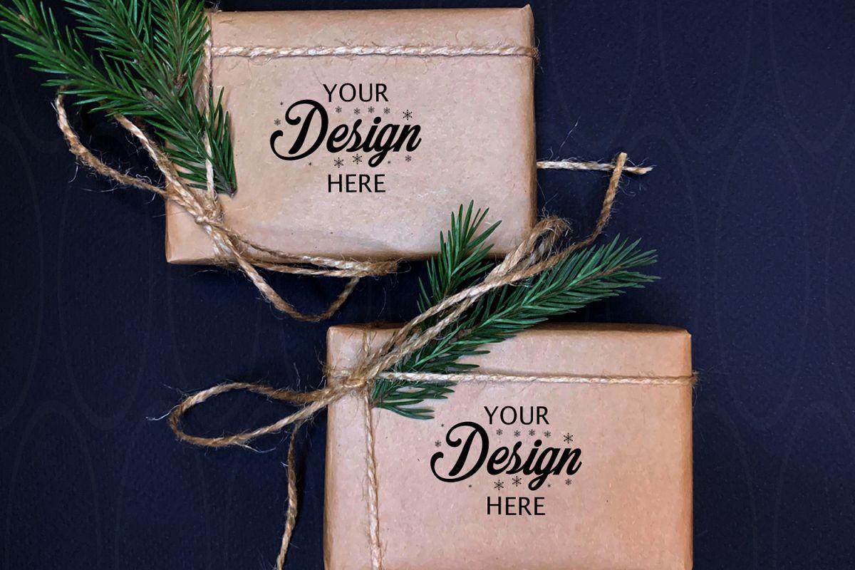 Gift Boxes Mockup Set Personalized Box Holidays Mock up example image 1