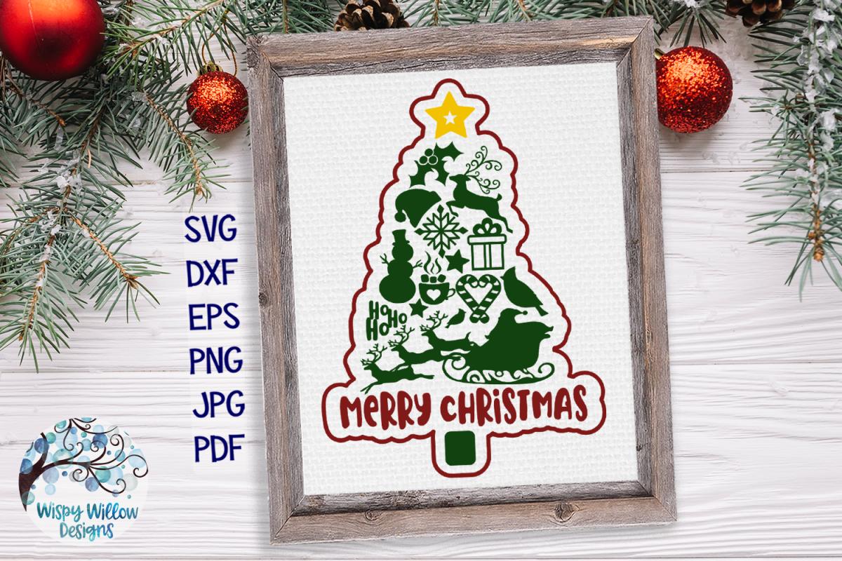 Merry Christmas Tree SVG   Christmas Tree SVG Cut File example image 1