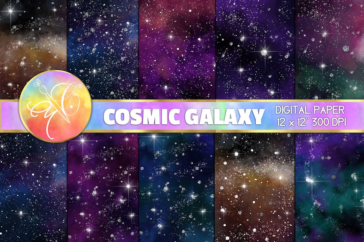 Cosmic Galaxy Digital Paper, Galaxy Background example image 1