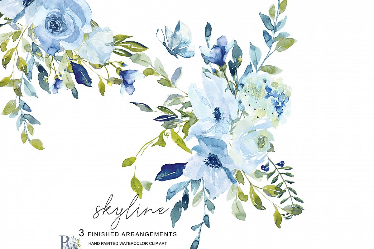 Watercolor flowers green. Hand painted light blue