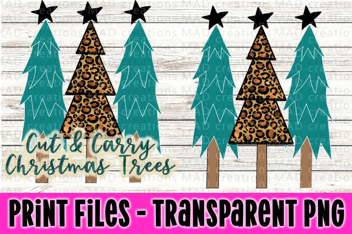 Leopard Print and Teal Trees and Presents - Print File example image 1